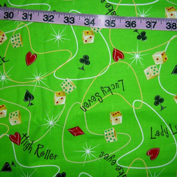 Lady luck gambling fabric poker card suit dice lucky sevens quilt print quilting sewing material to sew crafting project by the yard Kaufman
