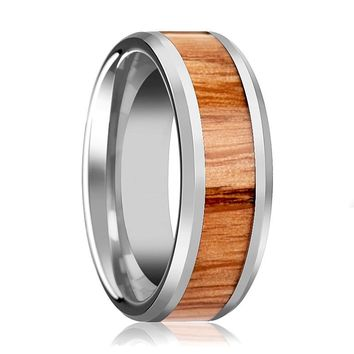 Tungsten Wood Ring - Red Oak Wood  - Tungsten Wedding Band - Polished Finish - 6mm - 8mm - 10mm - Tungsten Wedding Ring