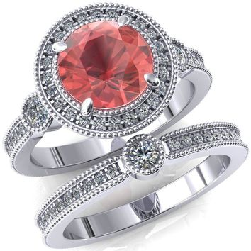 Brachium Round Lab-Created Padparadscha Sapphire Milgrain Halo 3/4 Eternity Accent Diamond Ring