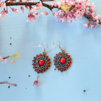 Southwestern style blue and red statement earrings, dangle earrings, blue and red silver earrings, accessories