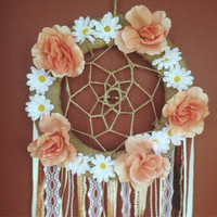 Floral Dreamcatcher with Center Bead Detail || Peach & White Flowers || Bohemian || Hippie || Feminine || Wall Hanging