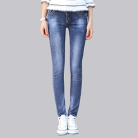 2016 New Jeans Women Light Blue Pants Jean Three Quarter Pants Women Sexy Fashion Nova Jeans Woman Sexy