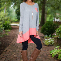 Before You Know It Top, Gray-Coral