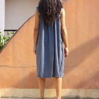 Vacation Time Dress...Sundress....Slip Dress..Color Slate Blue