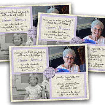 Lavender Purple Woman Birthday Invitation - Lady Milestone Birthday Party Invitations  - Then and now Photo Invite 90th - 80th -70th -60th