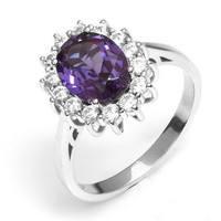 Princess Diana Inspired Sapphire Ring in 925 Sterling Silver