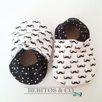 Soft Sole Baby Shoes, Mustaches Baby Shoes, Organic Baby Booties, Baby Boy Shoes, Mustaches Booties, Crib Baby shoes, Made to order 0-24M