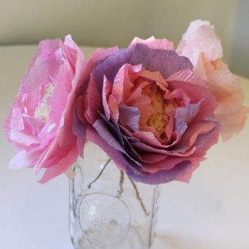 Pink peony flowers set of 3. Wedding centerpiece/ party decor. Choose your colors.
