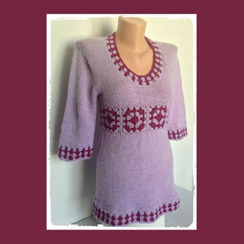Purple, Hand Knitted Pulover Long Sweater Lavender Granny Squares Tunic Liliac Raspberry Half Sleeve Plum Purple