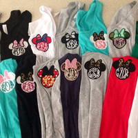Women's Monogram Disney Applique Minnie Mouse Tank Tops