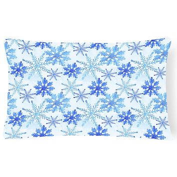 Blue Snowflakes Watercolor Canvas Fabric Decorative Pillow BB7484PW1216