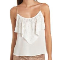 Beaded Strap & Rhinestone-Studded Flounce Tank Top - White