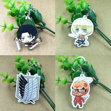 Attack On Titan Anime Accessories Mini Doll Keychain Backpack Pendants  Key Chain Silicone Anime Figure Keyring Accessories