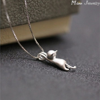 Only the pendant 925 Silver Necklaces Cats Pendants&Necklaces Pure Sterling Silver 925 Kitty Necklace Jewelry Collar Colar (Color: Silver) [9305864903]