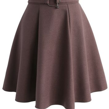 Girls Meet Vogue Wool-blend Skirt in Plum