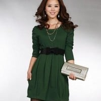 Wholesale Hot Sale Lady's Round Collar Slim Dress Green (With Belt)