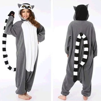Hot Adult Pajamas All in One Pyjama Animal Suit Women Winter Cute Cartoon Madagascar Ring-Tailed Lemur Fancy Onesuits Pajama Sets