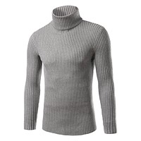 top 2017 High Quality Autumn Fashion New hot sale mens turtleneck sweater thick slim Fit pull over knitwear Sweaters Size M 3xL