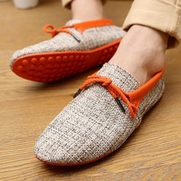 Men's Classic Flats Easy-Fit in Lightweight Non-Slip Grip Rubber Sole Daily Slip-on Casual Sneaker Flat Linen Home Shoes