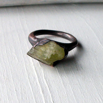 Brazilianite Copper Ring Yellow Green Olive by MidwestAlchemy