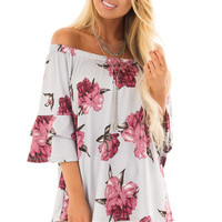 Steel Grey Floral Print Slinky Off the Shoulder Top