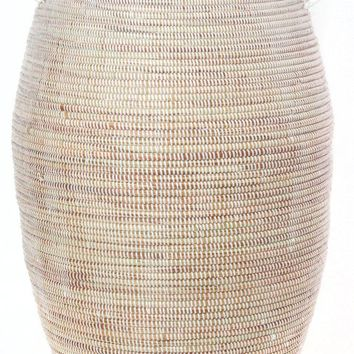 Senegalese Tall White Bongo Clothes Hamper Basket