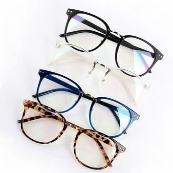 Unisex Tide Optical Clear Lens Glasses Women Men Round Frame Eyewear Eyeglasses Plain Optical