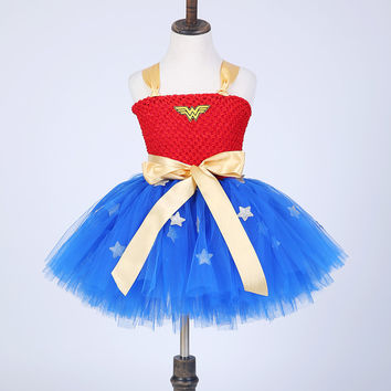 Summer Baby Girl Tutu Dress Wonder Woman Halloween Costume Birthday Dresses For Party Cosplay Superman Costume Baby Party Frocks