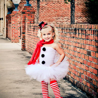 Miss Frosty the Snowman Tutu Christmas Outfit with Matching Christmas Top Hat Photography Prop Newborn-3t