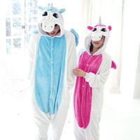 Free shipping New Flannel Unicorn Cartoon Cosplay Adult Unisex Homewear Cute Onesuit for adults animal Women pajama unicornio