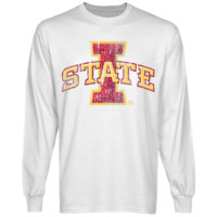 Iowa State Cyclones White Distressed Logo Vintage Long Sleeve T-shirt