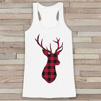 Plaid Deer Tank - Adult Christmas Shirt - Womens Top - White Tank Top - Merry Christmas Tank - Rustic Holiday Shirt - Holiday Gift Idea