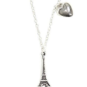 Eiffel Tower Necklace Silver Tone Heart Charm Paris France NP37 Fashion Jewelry