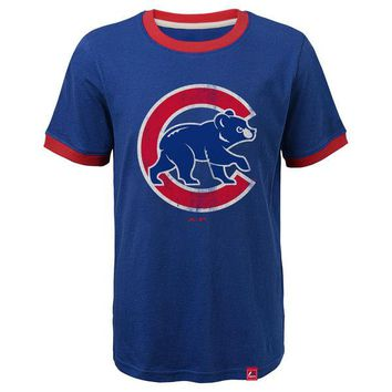 Youth Chicago Cubs Baseball Stripes Ringer Tee By Majestic