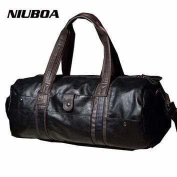 Travel Bags Men Women PU Leather Travel Duffle Lage Capacity Coffee Black Duffle Luggage Handbags Male Fashion Duffle Bag