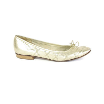 Vintage Gold Leather Flats Quilted Ballet Flats Metallic Gold Flats Slip On Soft Leather Shoes Vintage Ballet Flats Italian Size 8.5
