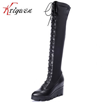 New style on list fashion Womens genuine leather  Lace Up Knee High Boots lady Tall Punk cosplay wedges Shoes free shipping