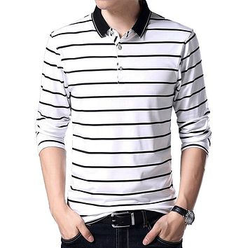 BROWON Korean Style Men Shirt Polo Brands Stripe Design Casual Shirt