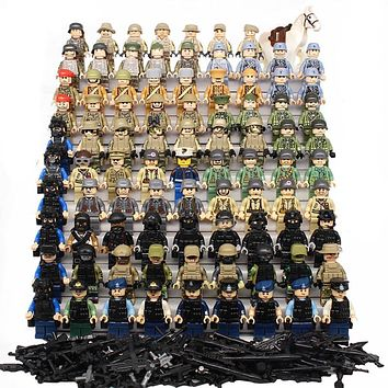 SWAT Military Figure World War II Marine Corps Army Soldiers Special Forces Building Blocks Set Compatible With LegoINGly Weapon