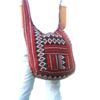 Woven Sling Bag Ethnic Boho Bag Hobo Bag Hippie Bag Cotton Crossbody Shoulder Bag Messenger Bag Diaper Bag Red Black Handbags  Everyday Bag