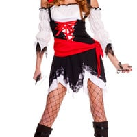 Black and White Off Shoulder Ruched Sleeve Vixen Pirate Costume