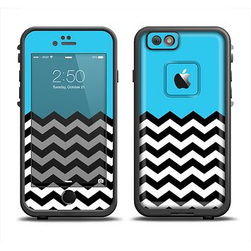 The Solid Blue with Black & White Chevron Pattern Apple iPhone 6 LifeProof Fre Case Skin Set