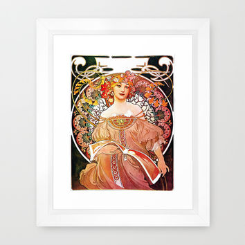 Alphonse Mucha Daydream Floral Vintage Art Nouveau Framed Art Print by Art Gallery | Society6
