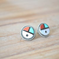 multi-stone inlay zuni sunface earrings // vintage zuni // vintage native american