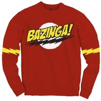 The Big Bang Theory Bazinga! Red Adult Knit Sweater - The Big Bang Theory - | TV Store Online