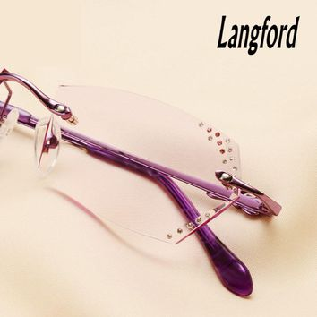 Langford women's rimless glasses frame optical glasses luxury Diamond cutting lens rimless prescription glasses hand-made 030