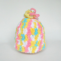 Baby Girl Hat Boy Winter Cap Infant Beanie Children  Fall Clothing 3 To 6 Months Multi Color Pink White Yellow Blue Crochet Fleece Like Yarn