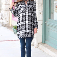 Laced Up in Plaid Tunic Dress {White+Black}