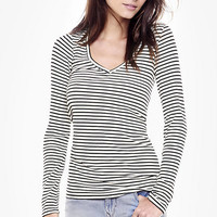 Striped One Eleven Long Sleeve Ribbed Tee from EXPRESS