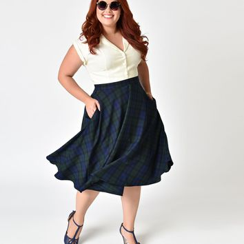 Hell Bunny Plus Size 1950s Style Blue & Green Plaid Doralee High Waist Swing Skirt